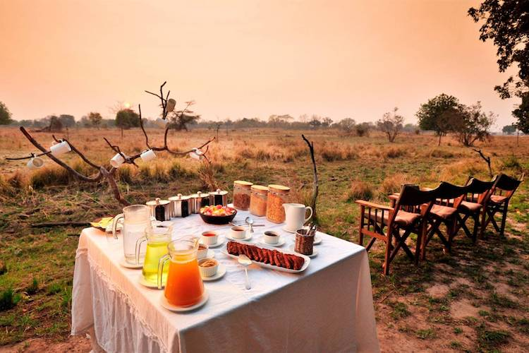 Luwi Bush Camp breakfast