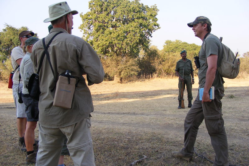 Safety briefing before a walking safari at Nkonzi Camp