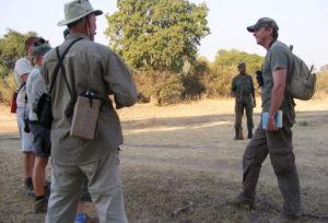 Safety briefing before a walking safari