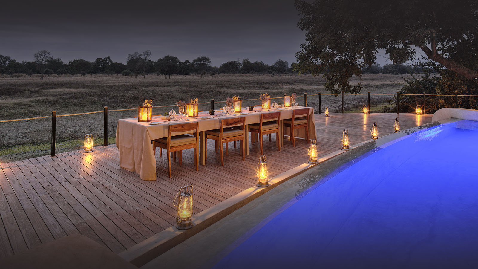 lion camp lodge-zambia-in-style-safari-packages-tours-south-luangwa-national-park-dinner-setup