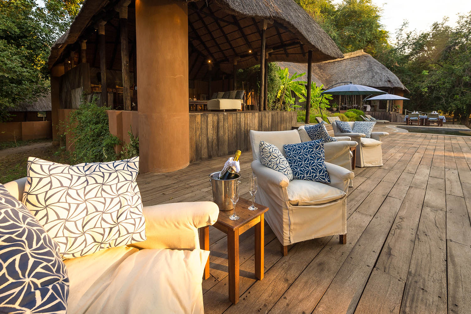 luangwa river camp lodge-zambia-in-style-safari-packages-south-luangwa-national-park-tours-pool-deck