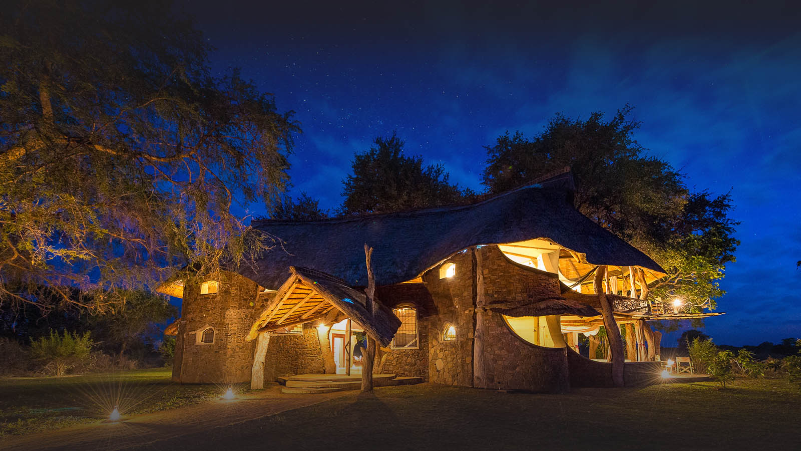 luangwa safari house lodge-zambia-in-style-tours-safari-packages-lodges-travel-south-luangwa-national-park-night-lights