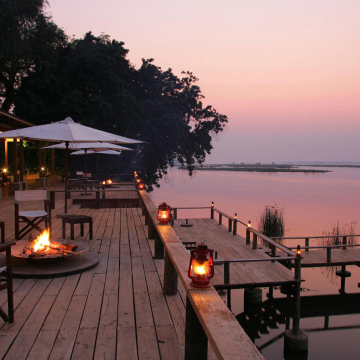 the royal zambezi zambia-in-style-safari-packages-lodges-lower-zambezi-location-terrace-at-night