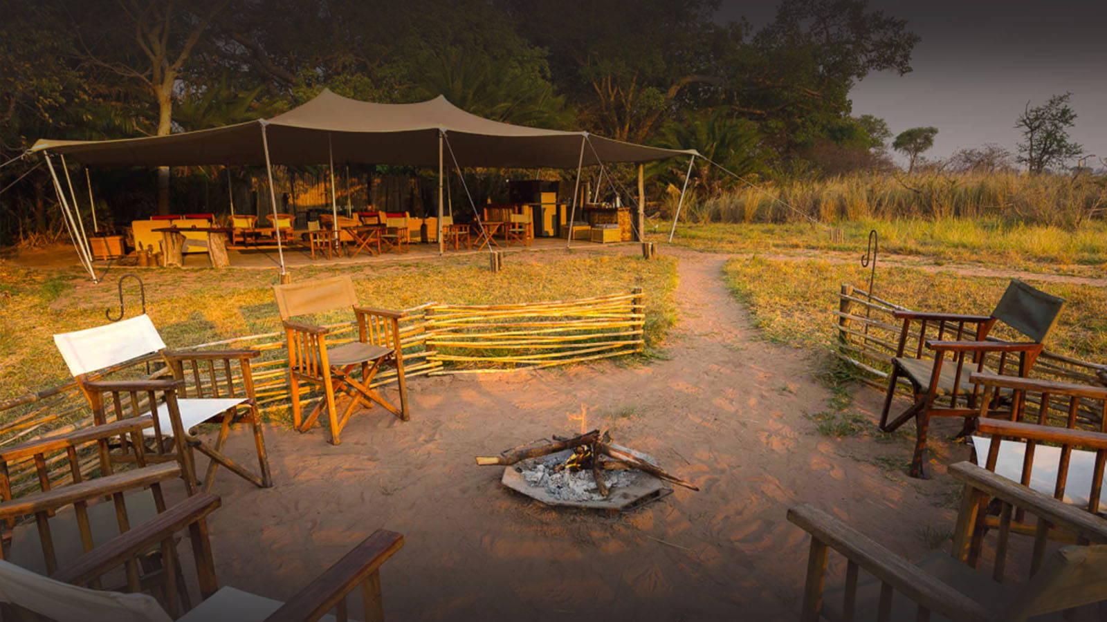 busanga bush camp zambia-in-style-safari-packages-lodges-kafue-national-park-chalets-intimate-location-firepit