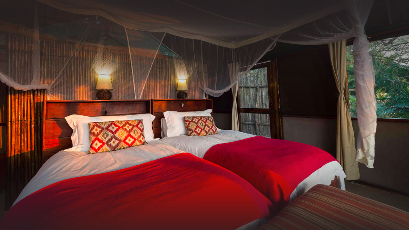 busanga bush camp zambia-in-style-safari-packages-lodges-kafue-national-park-chalets-intimate-location-twin-beds