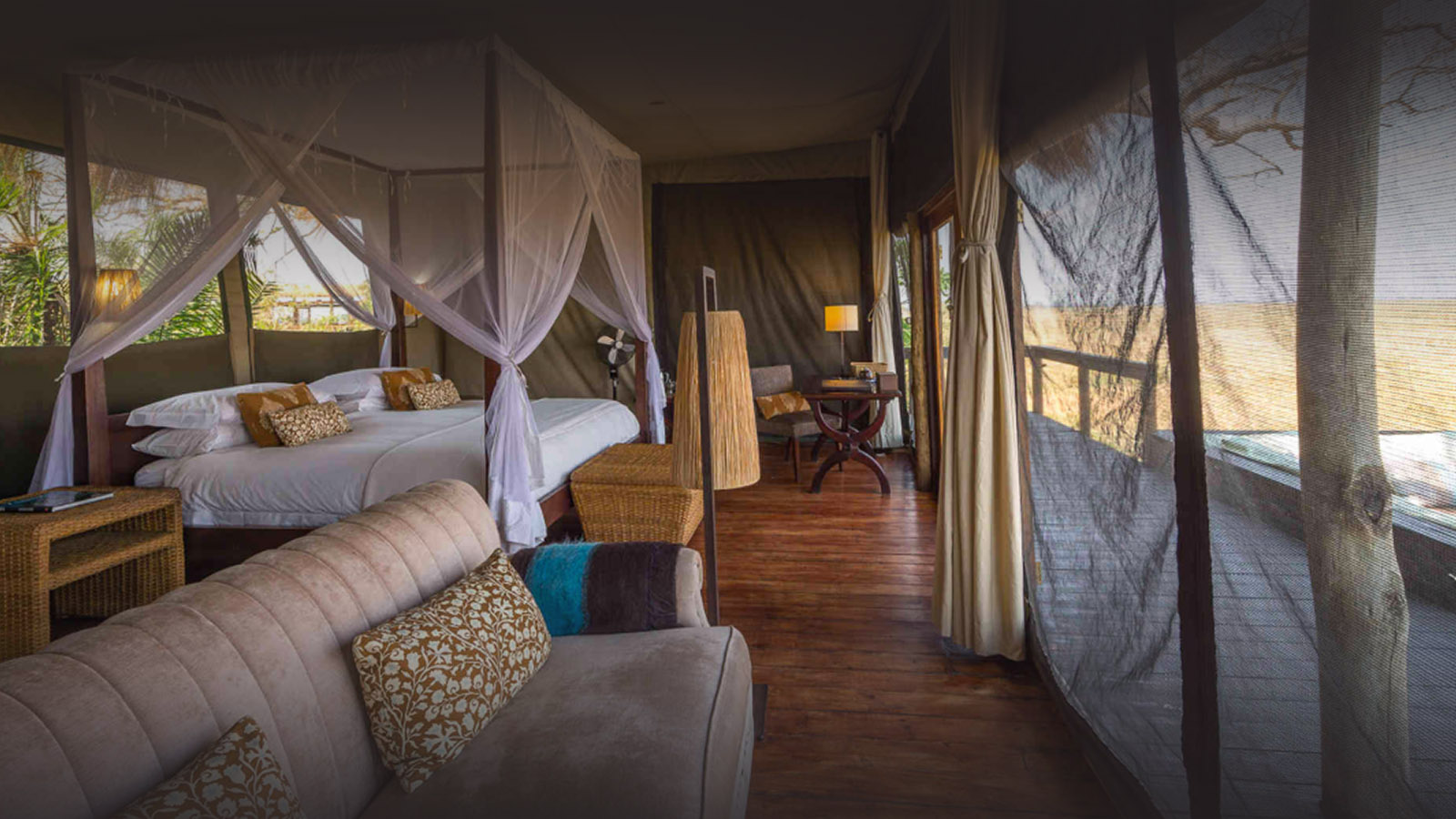 shumba-camp-lodge-zambia-in-style-safari-packages-lodges-kafue-national-park-busanga-plains-luxurious-accommodation-rooms-bed-view