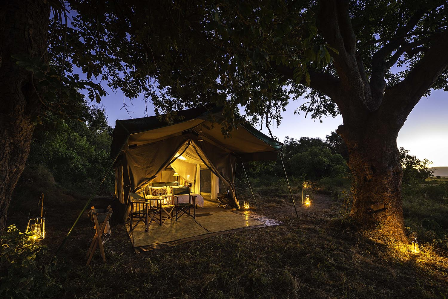 johns camp mana-pools-zimbabwe-accommodation-africa-safari-zambia-in-style-meru-styled-tents-evening-view