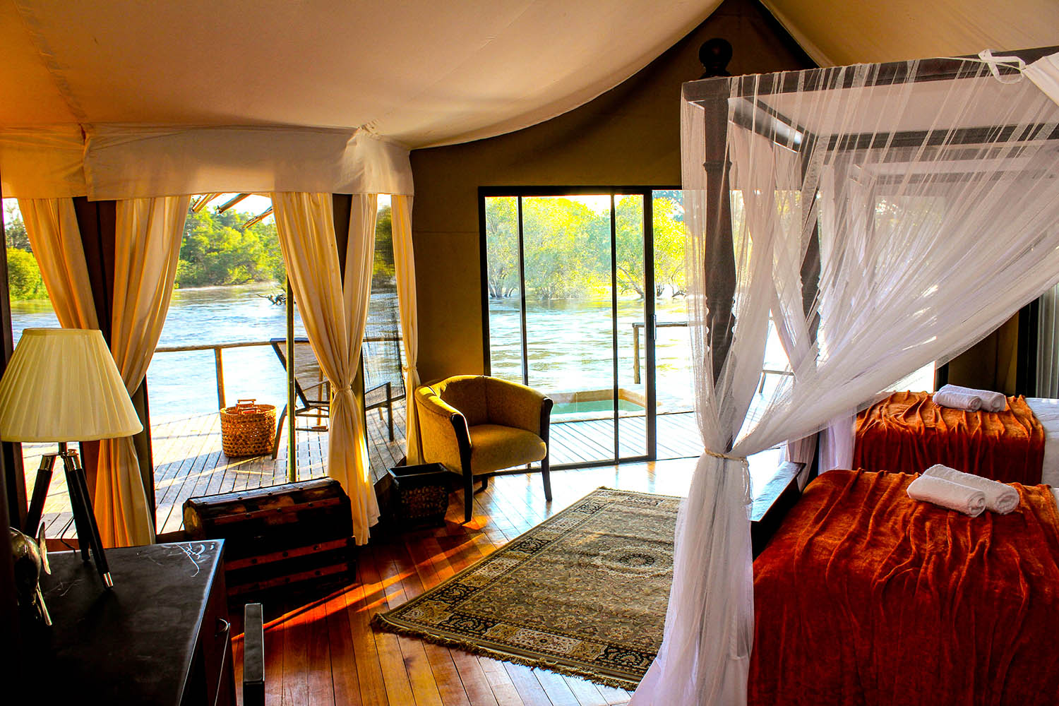 zambezi sands river camp victoria-falls-zimbabwe-accommodation-imvelo-safari-lodges-bed