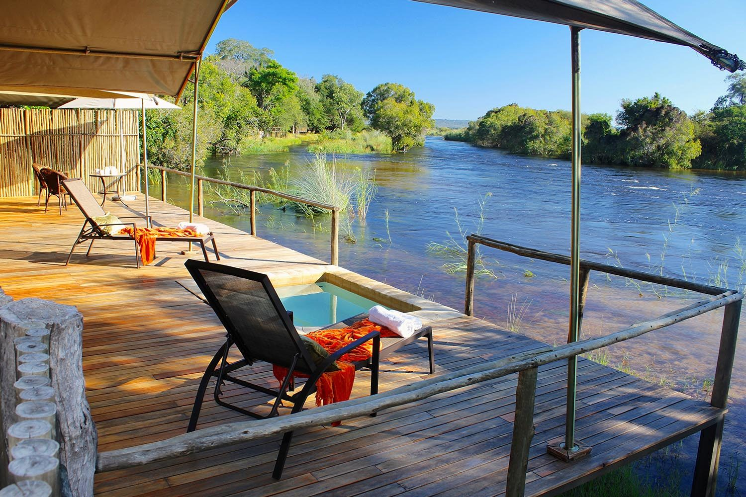 zambezi sands river camp-victoria-falls-zimbabwe-accommodation-imvelo-safari-lodges-zambezi-national-park-private-plunge-pool-deck