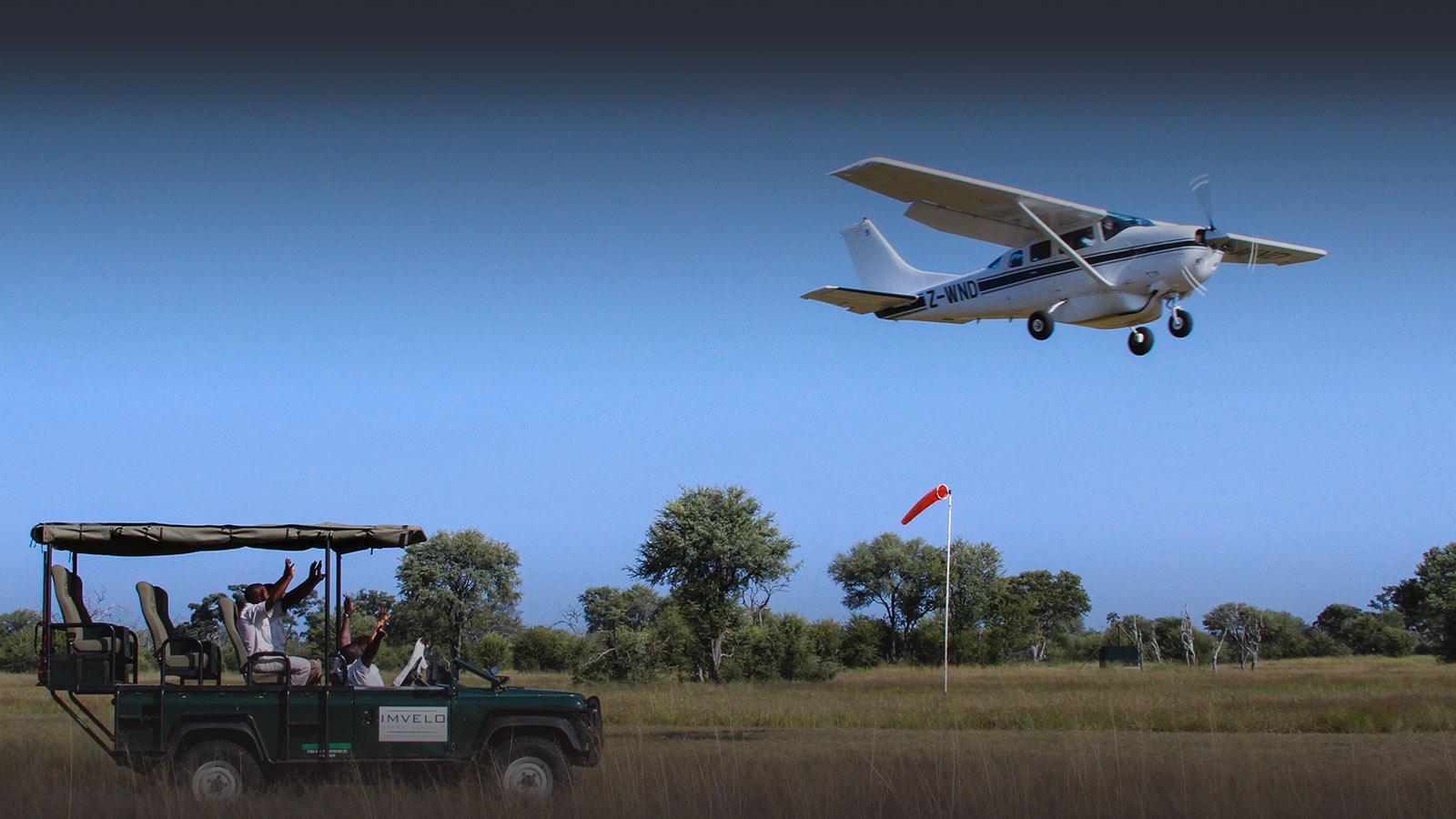 bomani tented lodge zimbabwe-accommodation-hwange-national-park-lodges-game-drive-vehicle-plane