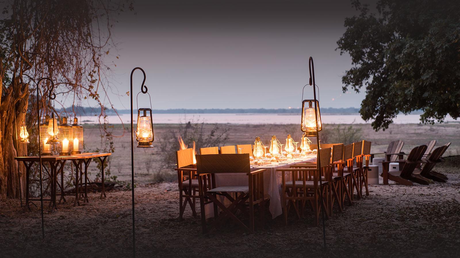 chikwenya camp zimbabwe-lodges-accommodation-zambia-in-style-mana-pools-zambezi-river-wilderness-safaris-dinner