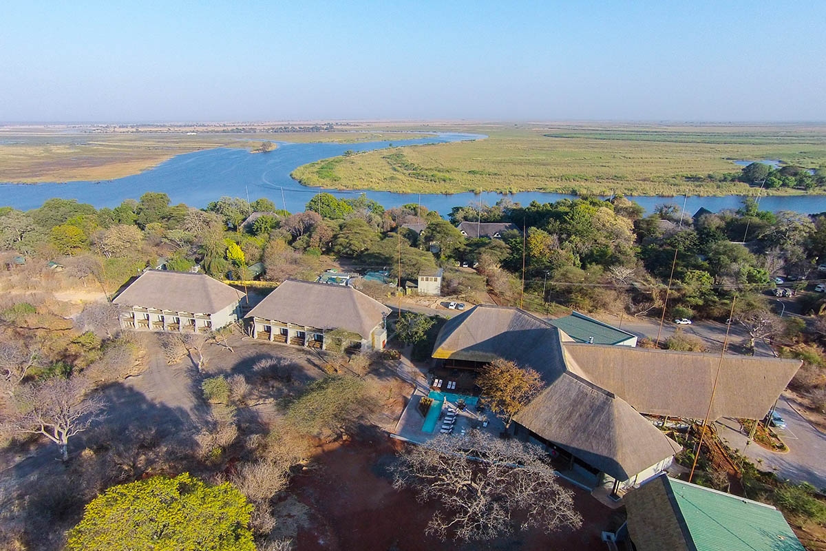 chobe bush lodge botswana-lodges-chobe-national-park-accommodation-aerial-view