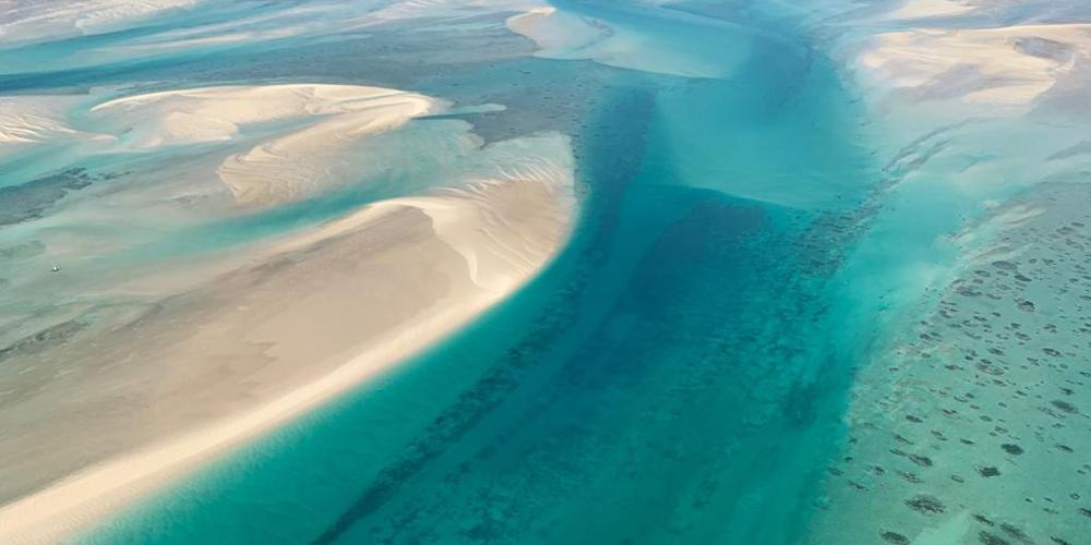flying to azura, mozambique