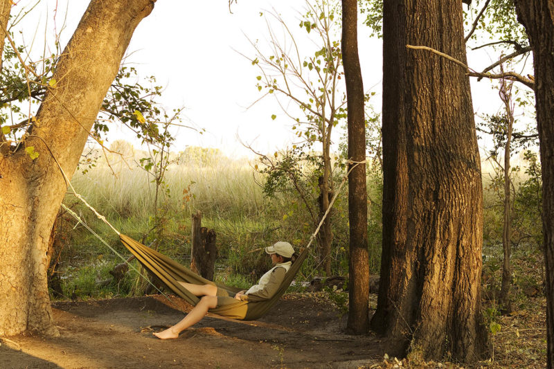 footsteps camp okavango-delta-botswana-lodges-zambia-in-style-walking-safaris-intimate-camp-guests-hammock