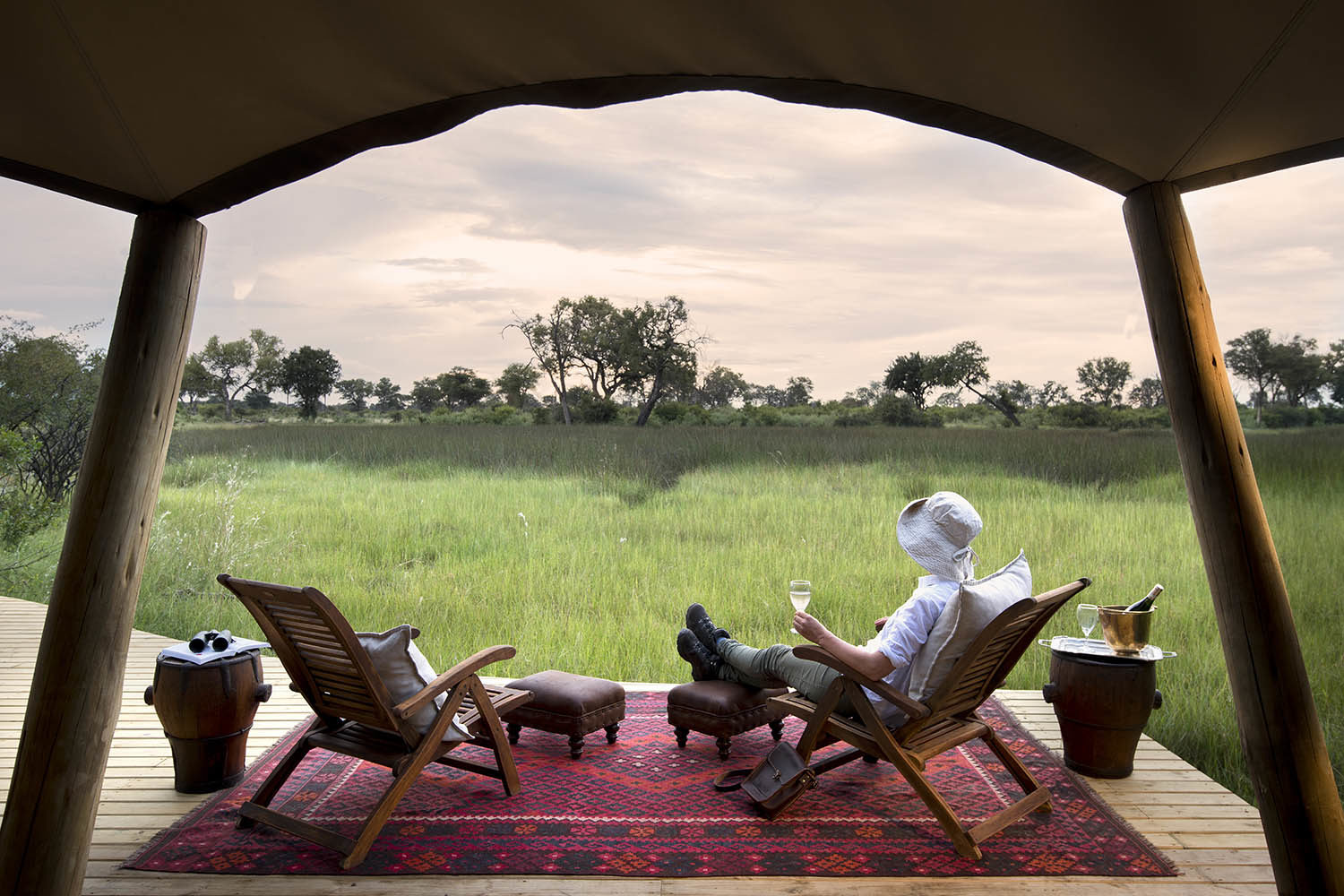great plains duba explorers camp okavango-delta-botswana-lodges-zambia-in-style-stunning-safari-tents-relaxing-drinks