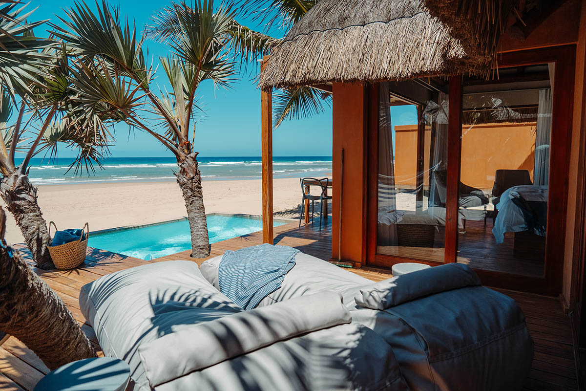 eclectic beach retreat tofo-mozambique-lodges-zambia-in-style-suite-deck-view