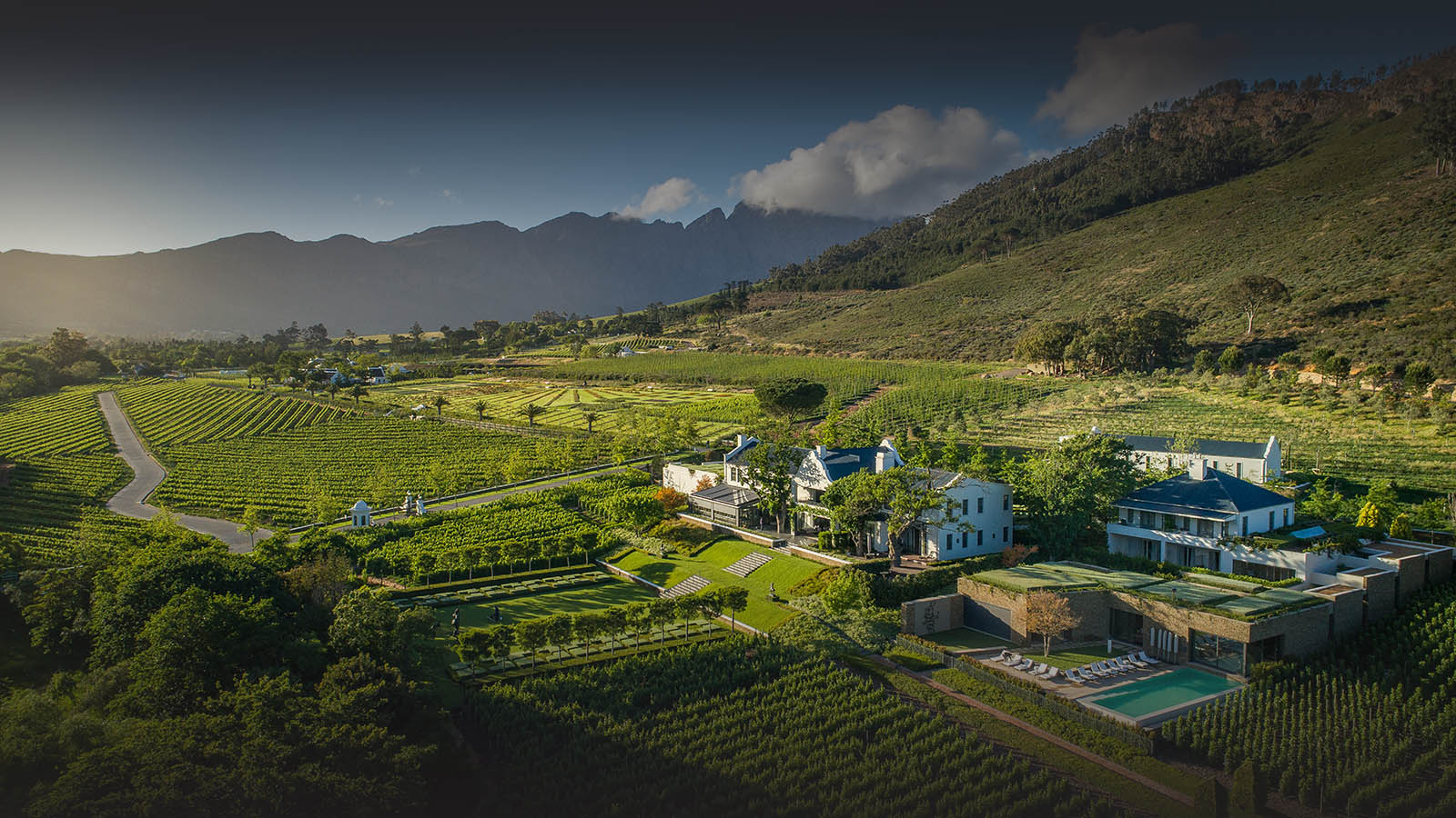 leeu estates franschhoek-cape-town-lodges-zambia-in-style-south-africa-sophisticated-boutique-hotel-aerial-view-manor-house